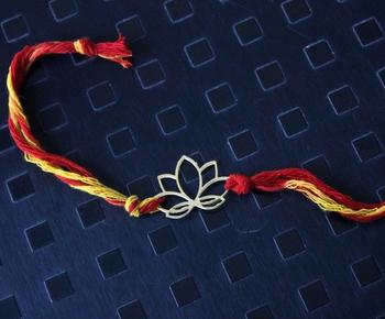 Red Mauli Gold Lotus Rakhi