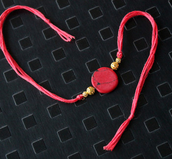 Red And Gold Stone Rakhi