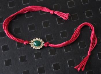Red And Green Zirconia Rakhi