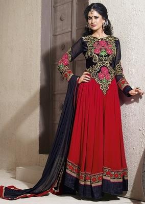Full length long Emb. Anarkali suit