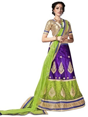 Multicolor embroidered net lehenga choli