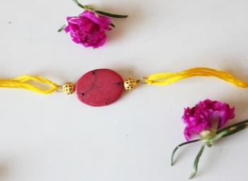 Red Yellow Stone Work Rakhi