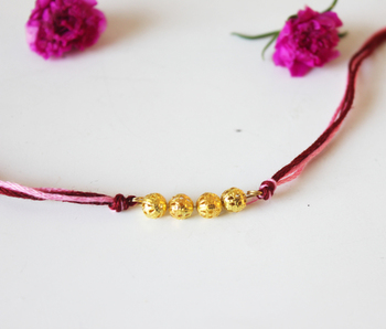 Pink And Gold Rakhi