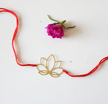 Red And Gold Lotus Filigree Rakhi