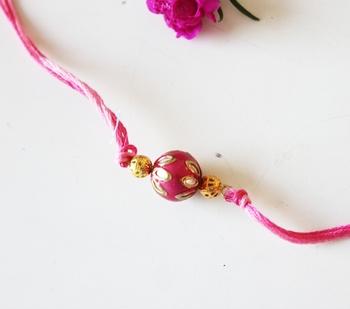 Pink Meenakari And Kundan Work Rakhi