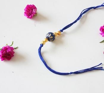 Blue And Gold Meenakari Kundan Work Rakhi