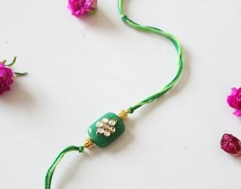 Green And Gold Kundan Work Rakhi