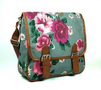 Gray Floral Cross Body Bag