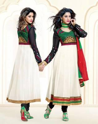 Trendy White / Black Georgette Anarkali Salwar Kameez-TBSUAURA1012
