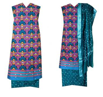 Ram leela style dress material in cotton with bandhani bandhej kutchi heavy aabhla and thread work embroidery