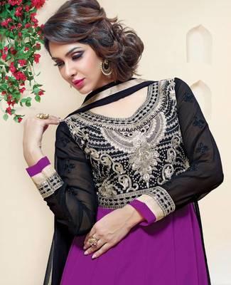 Luscious Purple / Black Georgette Anarkali Salwar Kameez-TBSUAURA1010