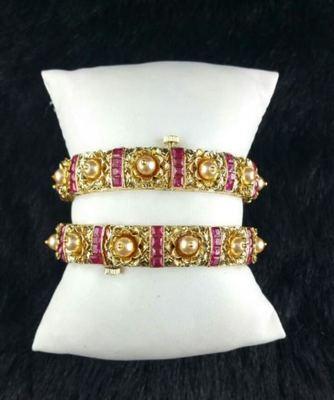 Fine ruby pearl bangles