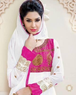 Adorable White / Pink Georgette Anarkali Salwar Kameez-TBSUAURA1003