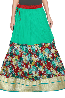 Sea green and maroon georgette crush skirt