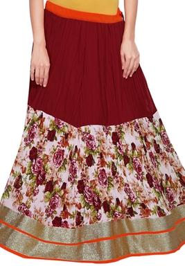 Maroon georgette crush flower print skirt
