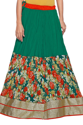 Turquoise georgette crush printed skirt