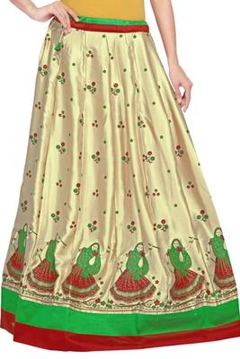 Golden satin block print skirt