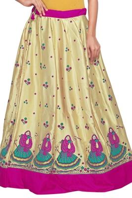 Golden satin block pink border skirt