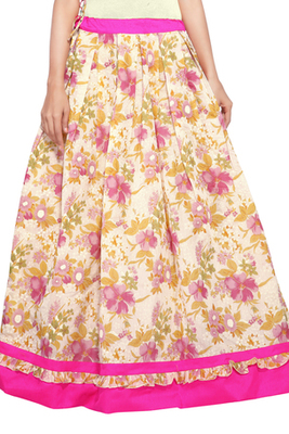 Beige and pink cotton chanderi flower print skirt