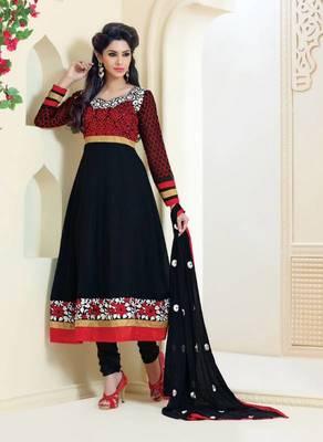 Dazzling Black Georgette Anarkali Salwar Kameez-TBSUAURA1002