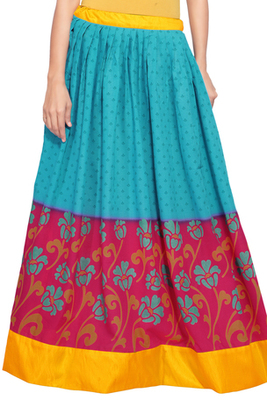 Blue and magenta cotton printed skirt
