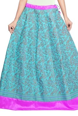 Blue cotton block print skirt
