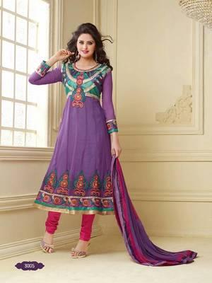 Mesmerising Purple Georgette Anarkali Salwar Kameez-TBSURAB3005