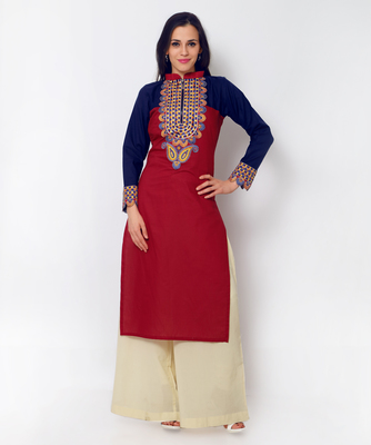 Red Cotton Embroidered Kurti