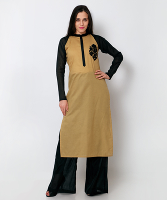 Light brown cotton embroidered stitched kurti