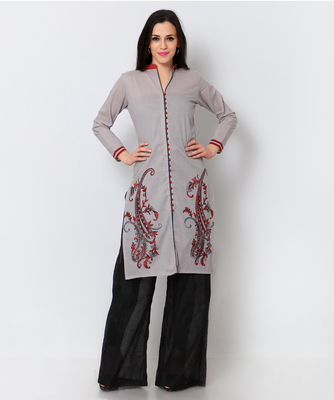Grey cotton embroidered stitched fancy kurti