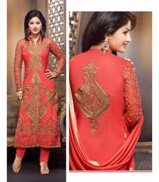 Red georgette embroidered semi stitched salwar with dupatta shop online