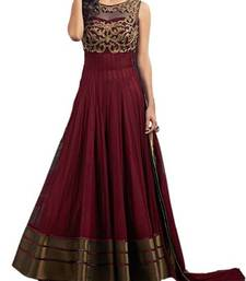 Buy Maroon net embroidered semi stitiched salwar with dupatta party-wear-salwar-kameez online