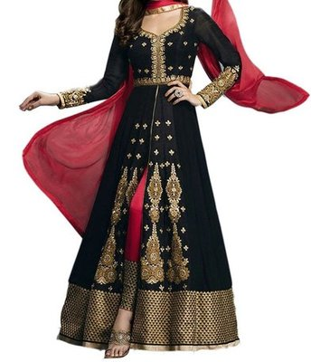Black georgette embroidered semi stitiched salwar with dupatta