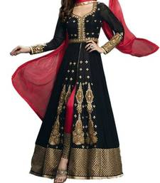 Black georgette embroidered semi stitiched salwar with dupatta shop online