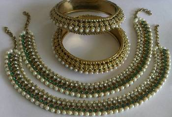 Designer Green colour Anklets with Traditional Pearl Bangles