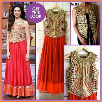 Buy Bollywood replica Deepika padukone gown with over coat. Online