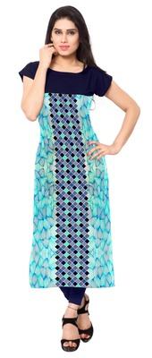 Blue printed crepe stitched kurti