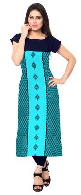 Green printed crepe stitched kurti