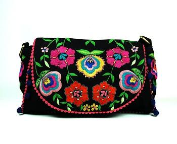 Black Floral Embroidered Sling