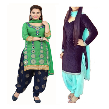 f8a0324dac Pashimo Women's Green N Dark Blue Color Combo Set Of 2 Salwar Suit -  Pashimo - 1340495