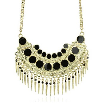 Polka and Spikes Gold Hipster Necklace