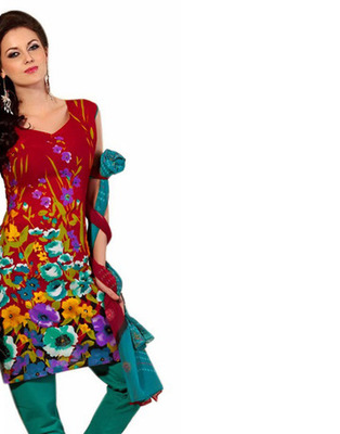 Red Color Cotton Fabric Printed Dress Material