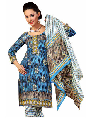 Blue Color Cotton Fabric Printed Dress Material