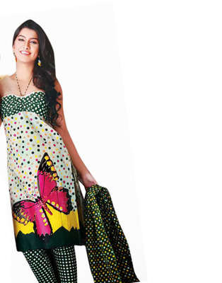 Green Color Cotton Fabric Printed Dress Material