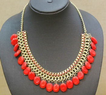 Red Stone Drops Gold Collar Necklace