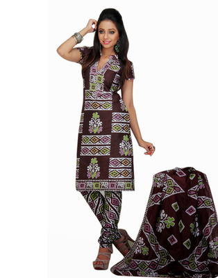 Brown Color Cotton Fabric Printed Dress Material