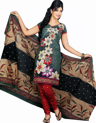Black Color Cotton Fabric Printed Dress Material