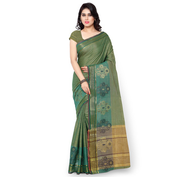 rama green woven cotton silk saree With Blouse