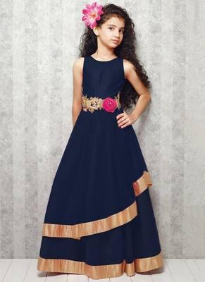 blue satin designer embroidered partywear kids gown kids wear