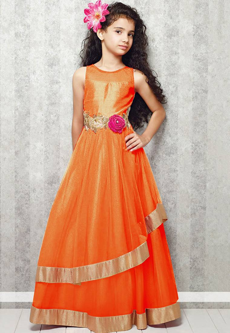 Buy orange satin designer embroidered partywear kids gown kids ...